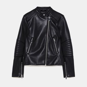 Zara Basic leather look biker jacket small NWT